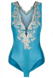 La Perla Maison Embroidered Blue Silk Bodysuit