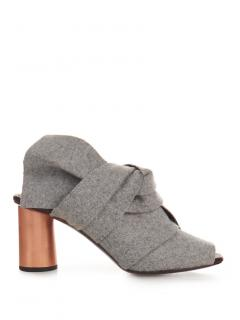 Proenza Schouler Grey Felt & Leather Knot Mule Heels