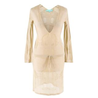 Melissa Odabash Gold Knit Beach Cover-Up Dress