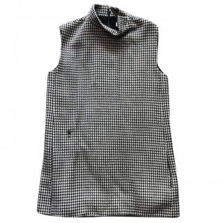 Dior Houndstooth Embroidered Wool Dres