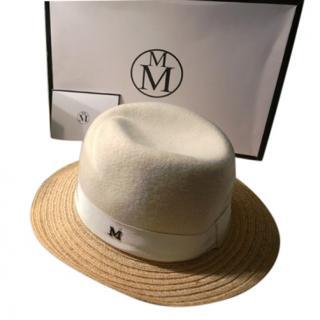 Maison Michel White Cashmere Straw Hat