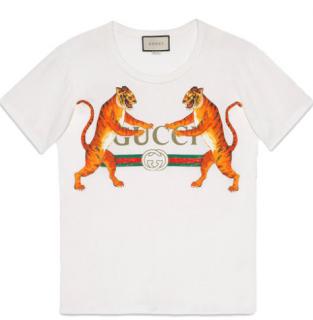 Gucci Tiger White Logo T-Shirt