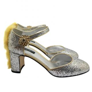 Dolce & Gabbana Fur Trim Glitter Sandals