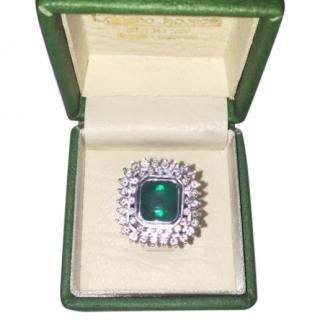 Bespoke Emerald and Diamond Cluster White Gold Ring