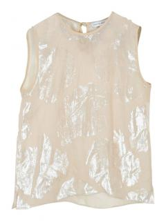 Jonathan Saunders Sheer Tinsel Effect silk-blend Sleeveless top