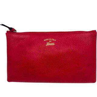 Gucci red leather clutch