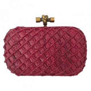 REDUCED! Bottega Veneta Pochette Knot Leather Burgundy Red small clutch