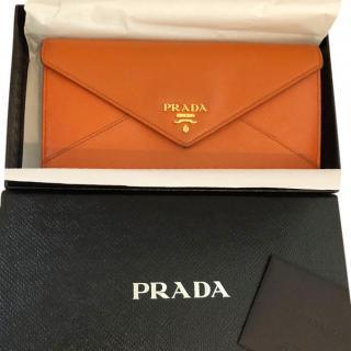 Prada Orange Saffiano Envelope Purse