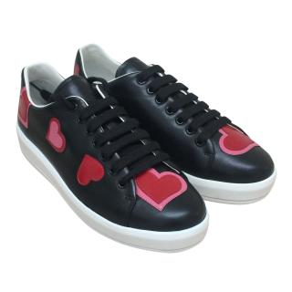 Prada black leather love heart trainers.