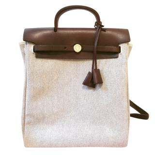 Hermes Toile H Canvas GM Ado Herbag Backpack 2 In 1 Beige Brown