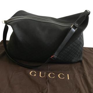 Gucci logo black canvas 58cms holdall