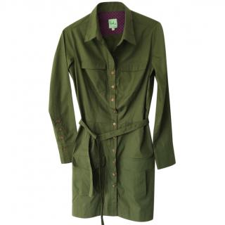 Paul Smith military green long sleeved cotton shirt dress.