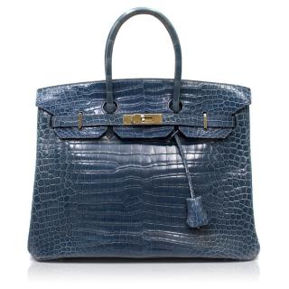 Hermes Blue Roy Porosus Crocodile 35cm Birkin Bag