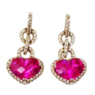Bespoke Pink Topaz & Diamond Earrings 14ct Gold