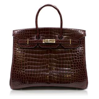 Hermes Bordeaux Porosus Crocodile 35cm Birkin Bag