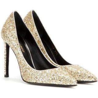 Saint Laurent Paris Gold Glitter Pumps