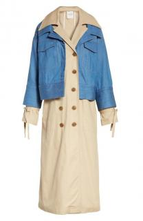 Sea New York Denim Overlay Camel Trench Coat