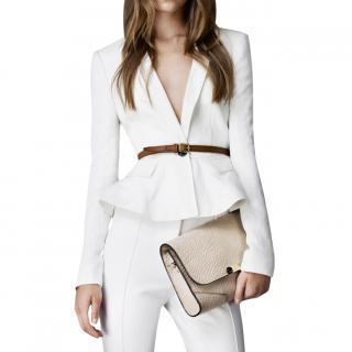 Burberry London White Peplum Jacket