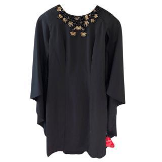 Forever Unique Black Gem Detail Cape Dress