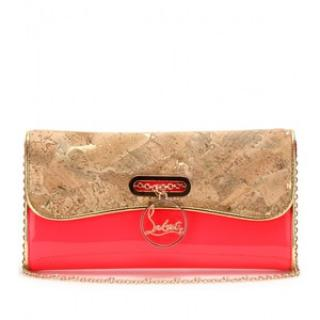 Christian Louboutin Patent Leather & Cork Riviera Clutch Bag