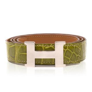 Hermes Slim Constance Crocodile Belt