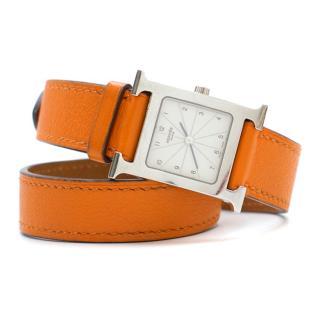 Hermes Orange Double-Strap Watch