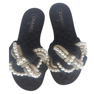 Chanel Runway Woven Rope Pearl Slides Slippers