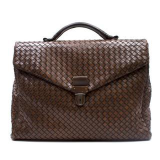 Bottega Veneta Brown Intrecciato Briefcase