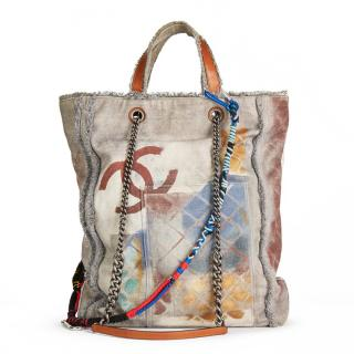 Chanel Grey Painted Canvas Graffiti Tote
