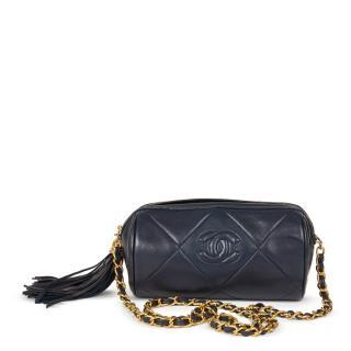 Chanel Navy Quilted Lambskin Vintage Timeless Fringe Shoulder Pochette