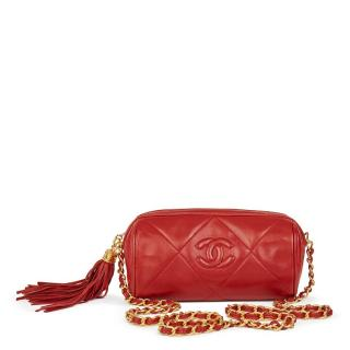 Chanel Red Quilted Lambskin Vintage Timeless Fringe Shoulder Pochette