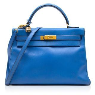 Hermes 32cm Kelly Bleu En Cuir Courchevel Bag