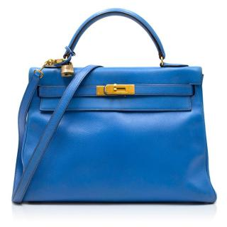 Hermes 32cm Kelly Bleu En Cuir Courchevel Bag