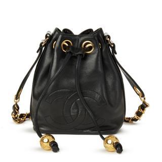Chanel Black Lambskin Mini Timeless Bucket Bag