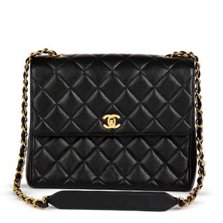 Chanel Black Quilted Caviar Leather Vintage Classic Single Flap Bag