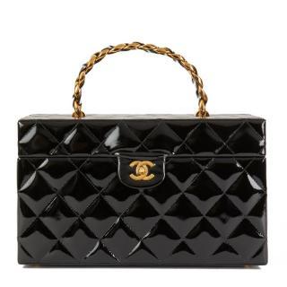 Chanel Black Patent Leather Vintage Classic Vanity Handbag