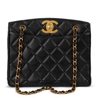 Chanel Quilted Black Lambskin Vintage XL Timeless Shoulder Bag