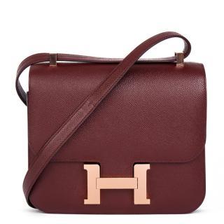 Hermes Bordeaux Epsom Leather Constance 24