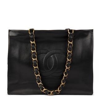 Chanel Vintage Black Lambskin Jumbo XL Timeless Shopping Tote