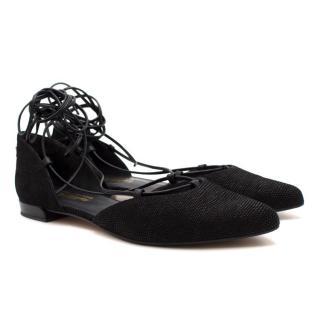 Stuart Weitzman Black Lace-up Flats