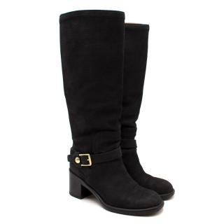 Louis Vuitton Black Leather Tall Chunky Heeled Boots
