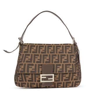 Fendi Brown Monogram Canvas Mama Baguette Bag