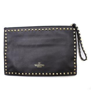 Valentino Black Leather Rockstud Clutch