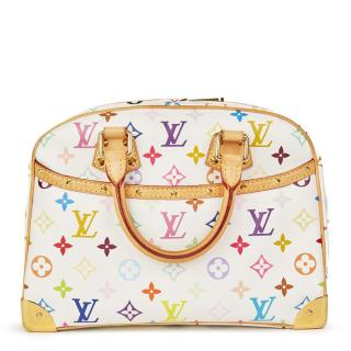 Louis Vuitton White Multicolour Monogram Canvas Trouville Bag