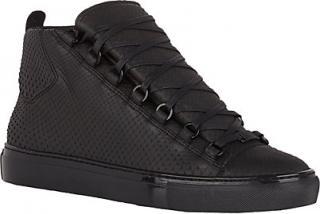 Balenciaga Black Arena Python Hi-Top Sneakers