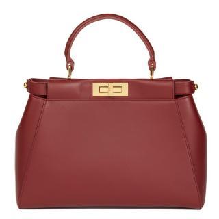 Fendi Cherry Red Calfskin Leather Regular Peekaboo Bag