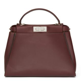 Fendi Burgundy Calfskin Leather Regular Peekaboo Bag with Flowers