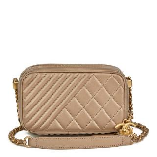 Chanel Bronze Quilted Lambskin Small Coco Boy Camera Case Bag