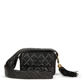 Chanel Quilted Lambskin Vintage Logo Leather Fringe Camera Bag