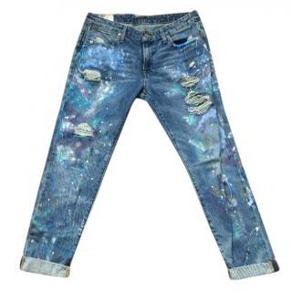Ralph Lauren Paint Splattered Ripped Jeans